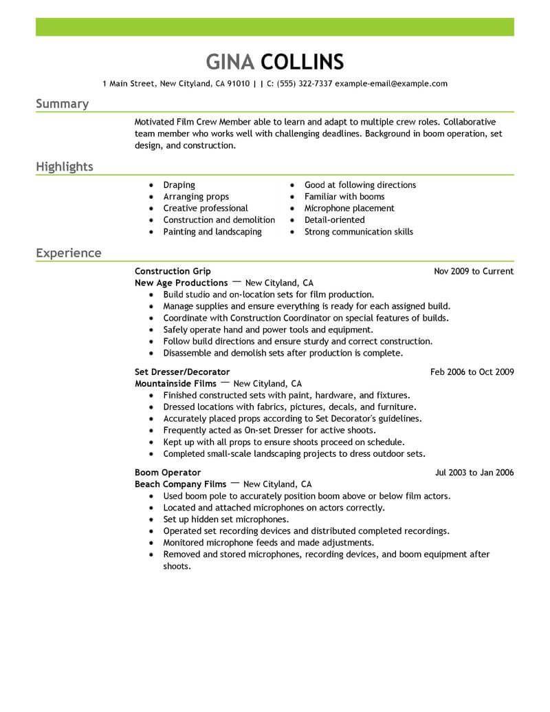 Best Film Crew Resume Example Livecareer Resume Examples Resume Template Free Resume