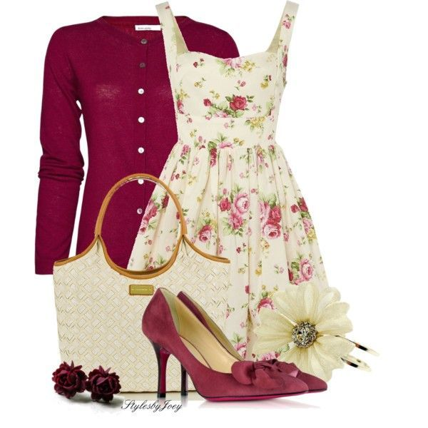 Only the dress..the sweater and shoes are to wintery but perhaps beige sandals would pair nicely