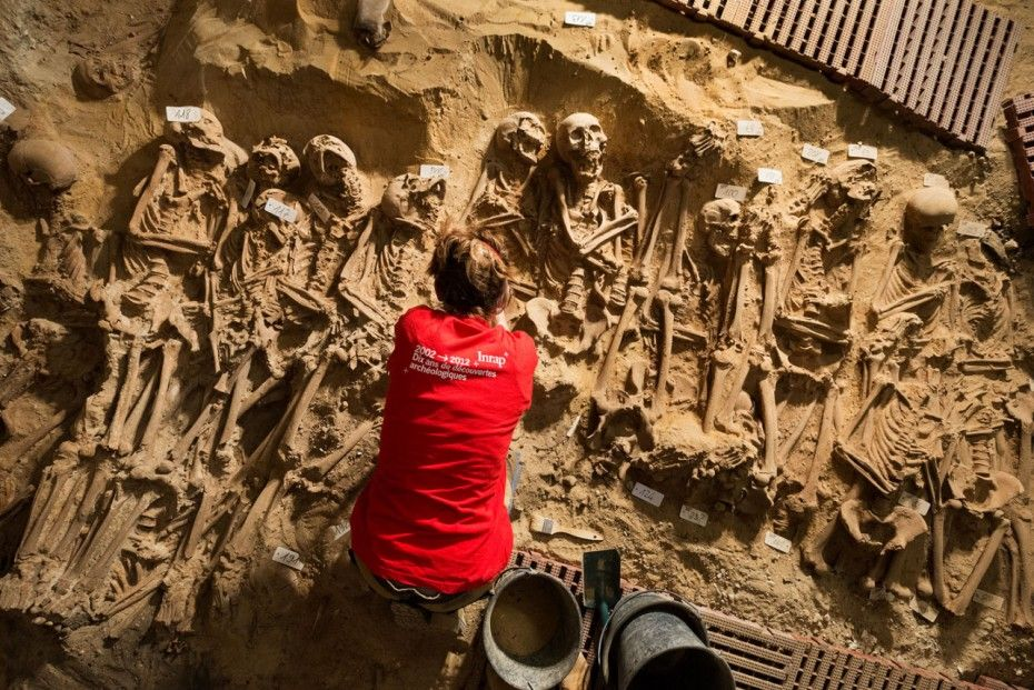 Underneath the product aisles of a well-known Monoprix supermarket branch in central Paris the skeletons of up to 200 lost souls have been discovered buried in a mass grave.