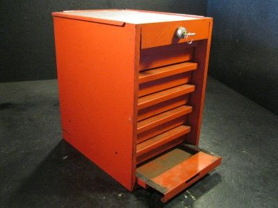 Used Snap On Side Cabinet Locker Tool Box 5 Drawers Red Lockable