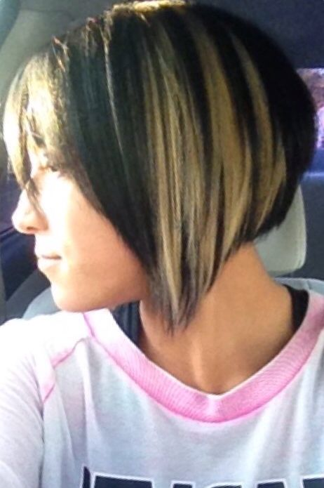 Love It Short A Line Bob Black Hair With Blonde Highlights