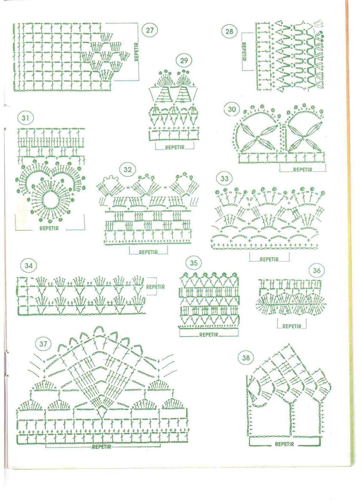 Puntilla vertical. Filet crochet. Patrón pattern. | crochet | Croché ...