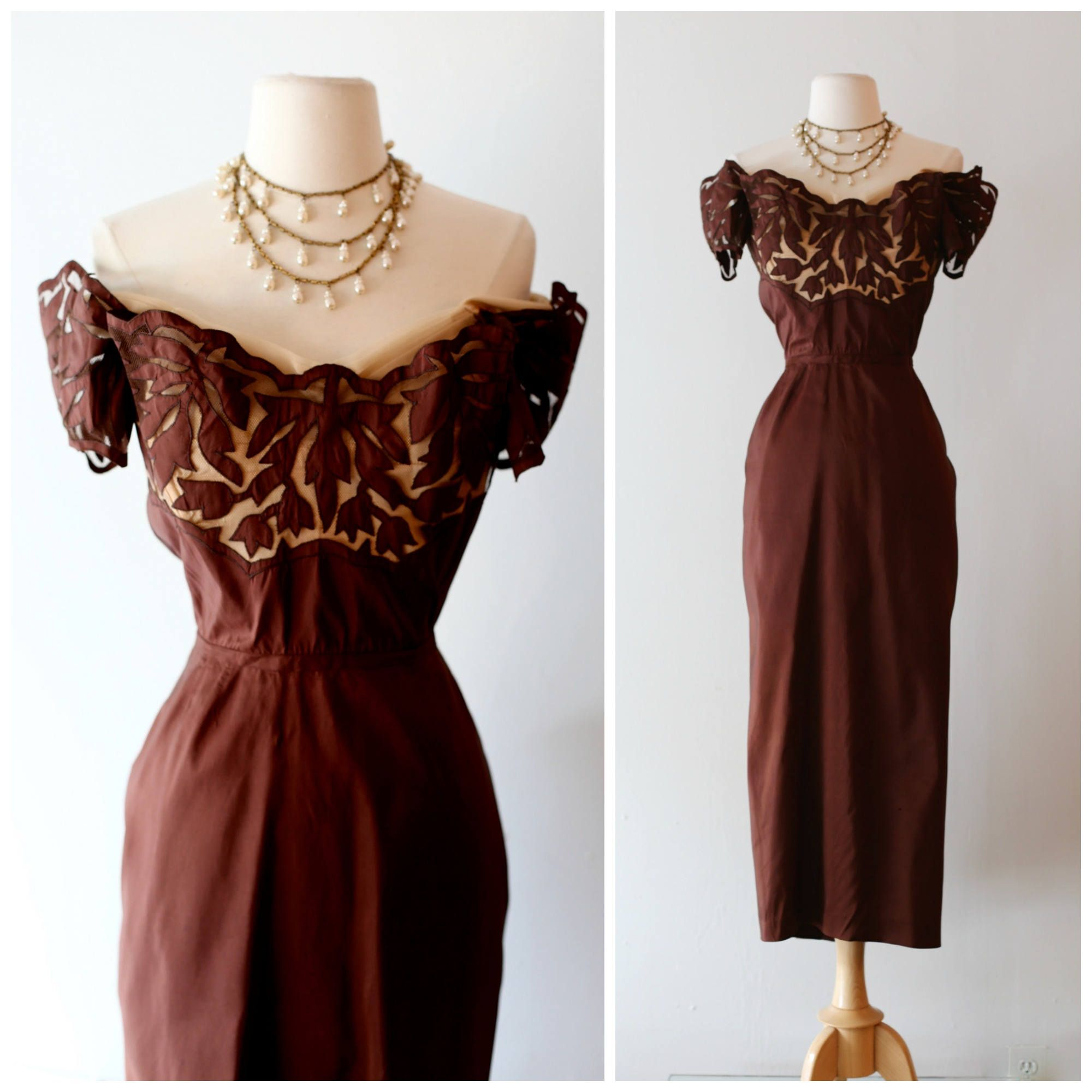 dfb7a92117d6 Vintage 1940 s Chocolate Silk Taffeta Cocktail Dress With Illusion Bodice ~  Vintage 40s Femme Fatale Off The Shoulder Party Dress by xtabayvintage on  Etsy