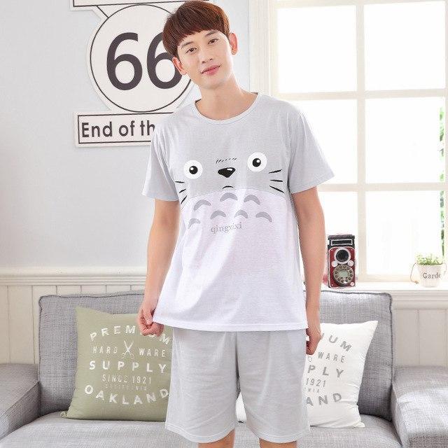 Summer Cotton Pajama Sets Couples Gray Sleepwear Women Pajamas Pijama  hombre Masculino Cartoon Totoro Pyjamas Men s Pajamas Home 6b14d2d77