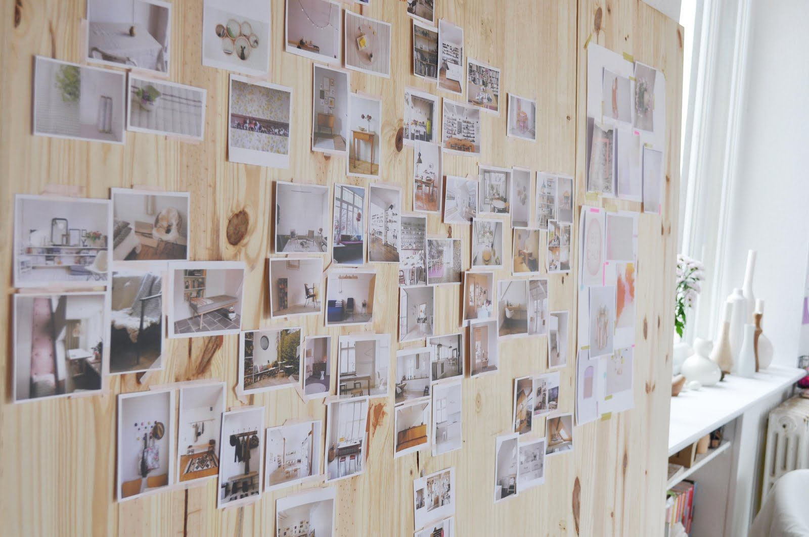wood wall + photos...