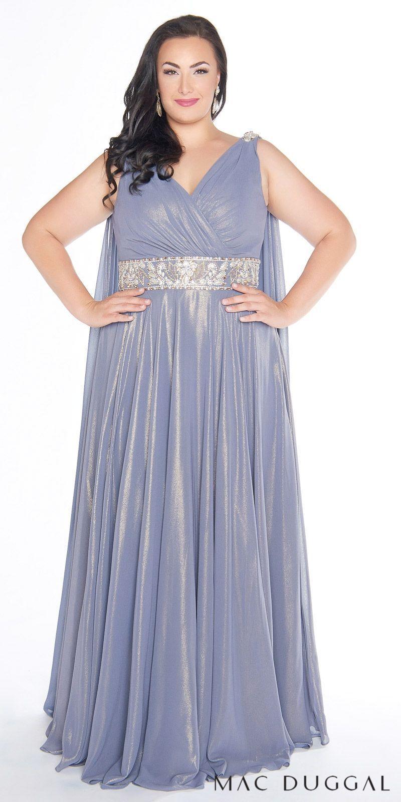 Sleeveless Iridescent Embellished Plus Size Evening Dress by Mac