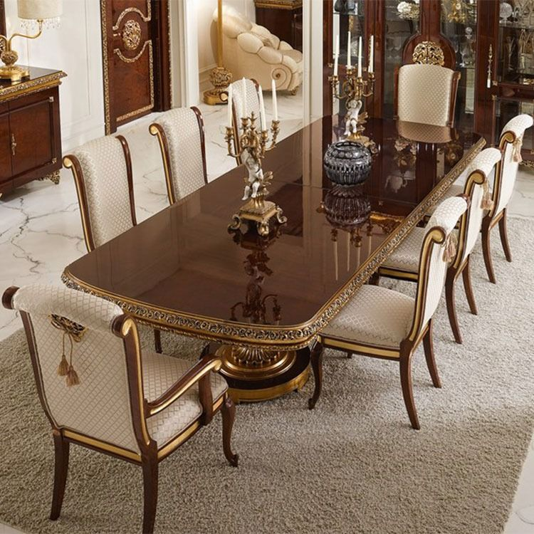 Luxury European Style Handmade Solid Wood Dining Table Rectangular Restaurant Tables Royal Wooden Italian Dining Room Dining Table Luxury European Style