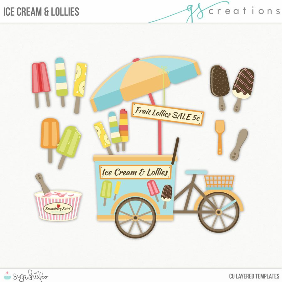 Ice Cream and Lollies CU Layered Templates