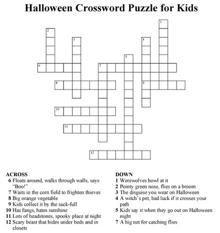Click to Download PDF of Halloween Crossword Puzzle for Kids