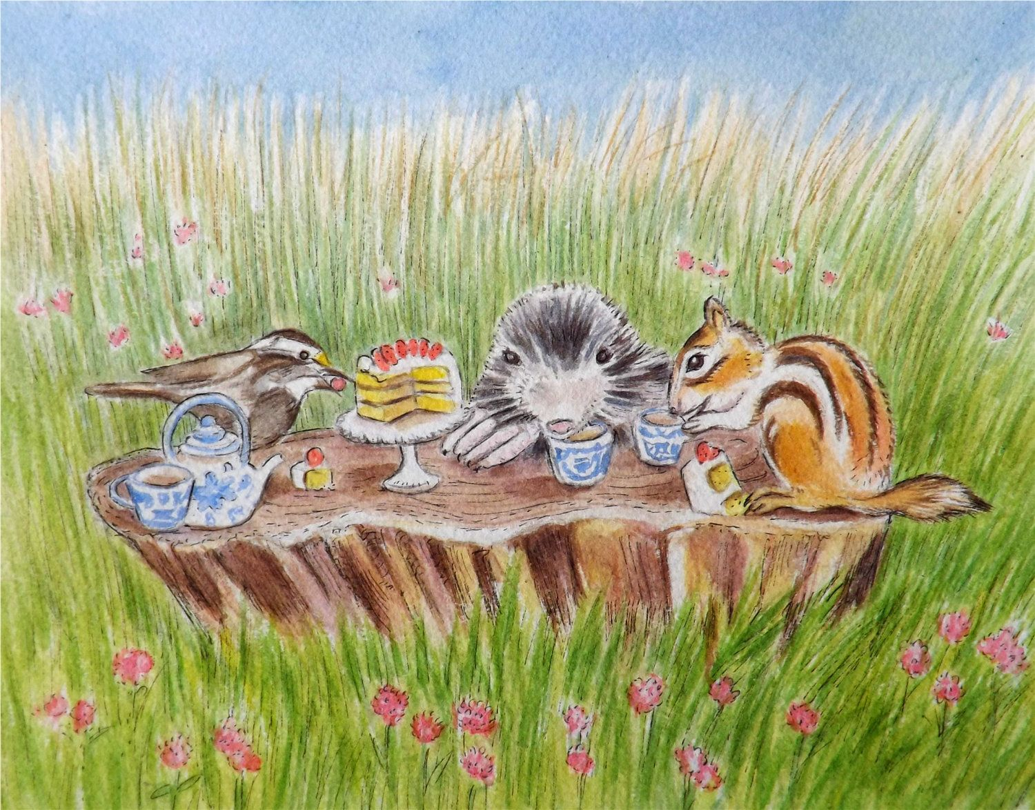 Bottle brush woodland animals - Animal Picnic Illustration Woodland Original Watercolor Art Baby Nursery Decor Home Decor Sparrow Mole Chipmunk Tea Party