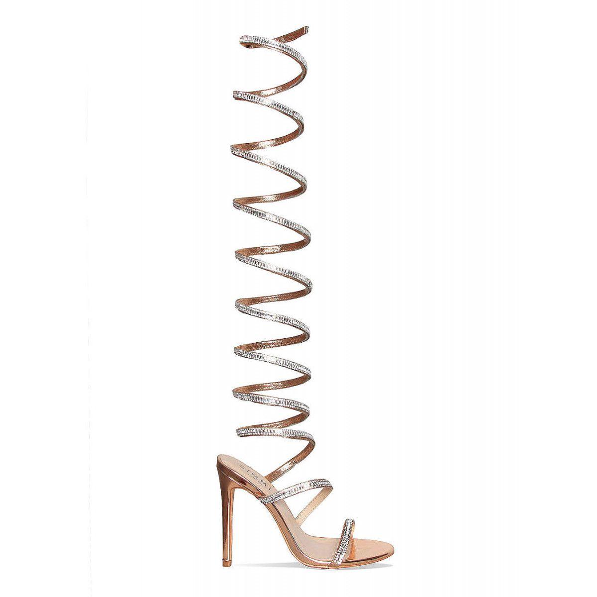 42116e9f43a Zora Rose Gold Diamante Spiral Heels   Simmi Shoes