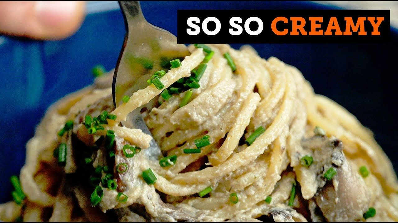 Creamy Garlic Mushroom Pasta Bosh Vegan Stuffed Mushrooms Vegan Recipes Easy Mushroom Pasta