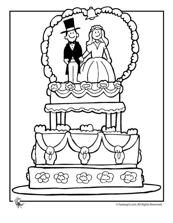 Wedding Cake Coloring Pages For Kids - Coloring And Drawing