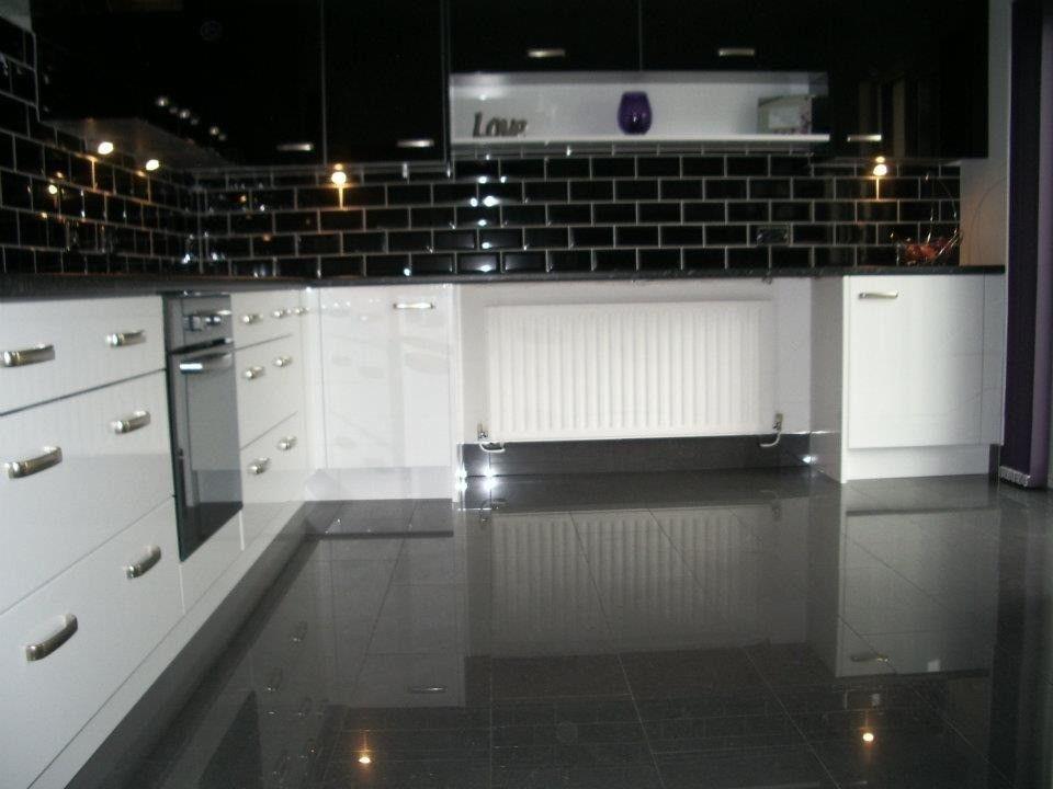 Image Result For Dark Shiny Tiles Kitchen Black Kitchen Floor