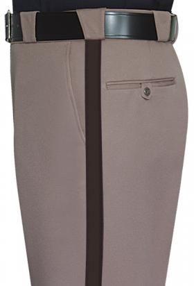 "Fechheimer Men's 100% Polyester Elastique Sheriff Trousers w/ 1"" Brown Stripe"