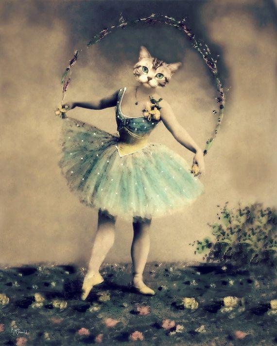 9cb2bea6f6 Cat Art Print, Victorian Animal Print, Altered Photography,  Anthropomorphic, Animal Head, Ballet, Ballerina, Dance,
