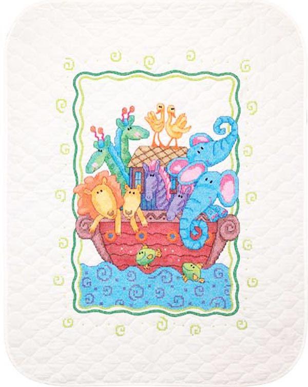 Dimensions Stamped #crossstitch  NOAH'S ARK #quilt #baby #DIY #needlecraft #giftideas