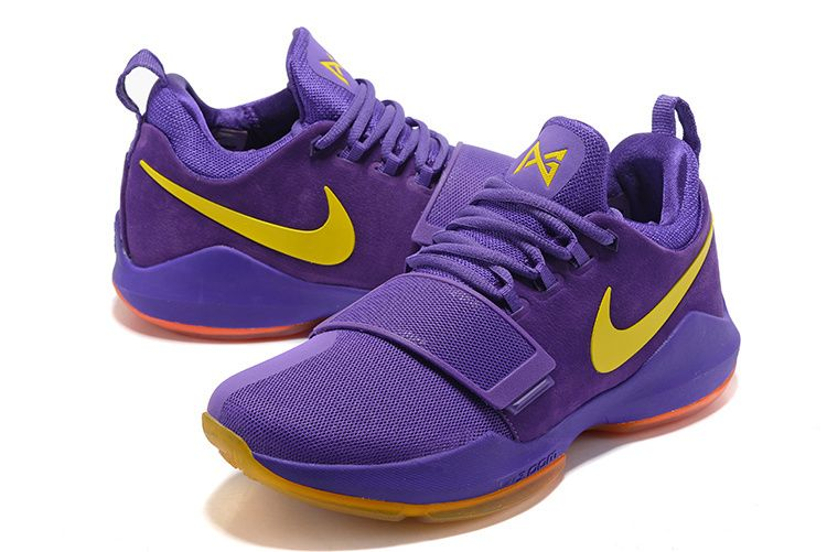 new arrival c4b96 75f80 2018 Purchase New Paul George Shoes 2018 PG 1 One Lakers Purple Gold  Gradient Orange