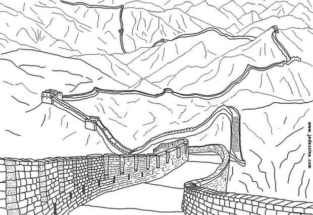 Great Wall Of China Coloring Page With Images Fall Coloring