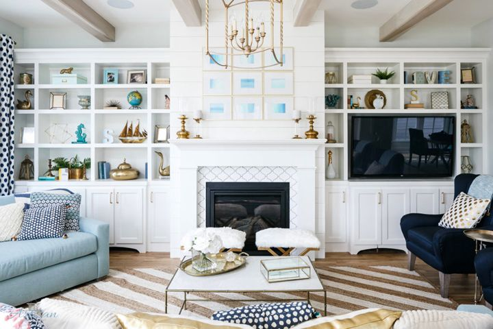 Artisan Signature Homes Built In Shelves Living Room White