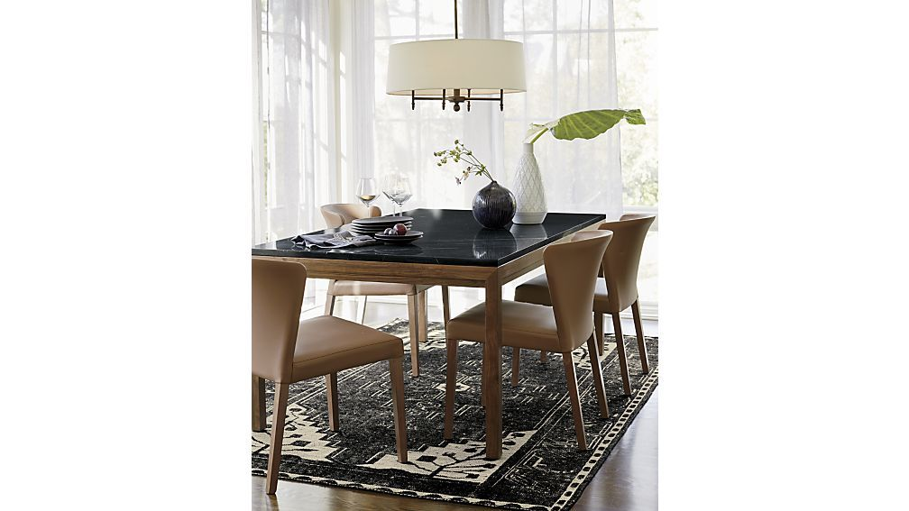 Parsons Black Marble Top Elm Base 60x36 Dining Table
