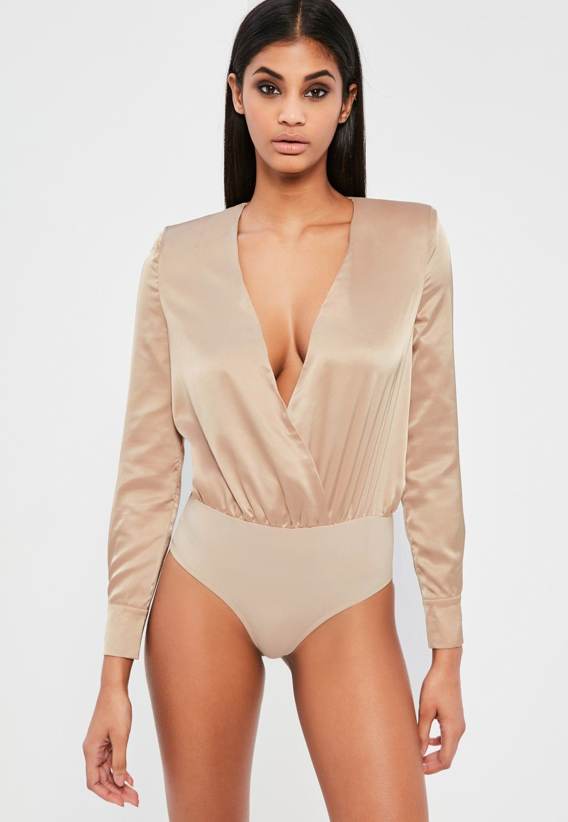 Missguided - Peace Love Nude Satin Wrap Long Sleeve Bodysuit ... 20a396619