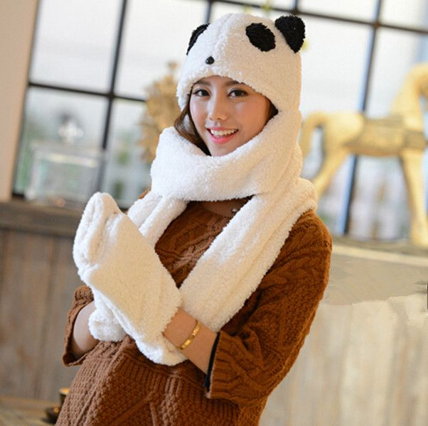 39a2f5571fd46 Panda hat scarf and gloves all in one for girls animal cosplay winter hats
