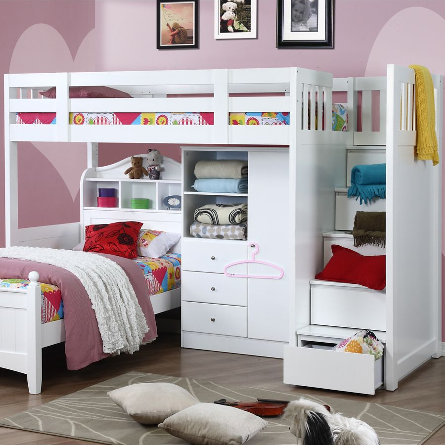 Bunk bed with stairs and storage - Neutron High Sleeper With Stair Storage