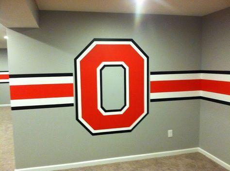 Block O stripes Ohio state rooms, Ohio state bedroom