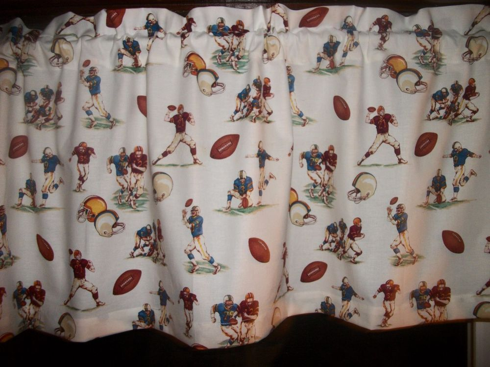 Vintage Look Football Players Fabric Window Topper Curtain Valance Handmade Window Toppers Valance Curtains Curtains