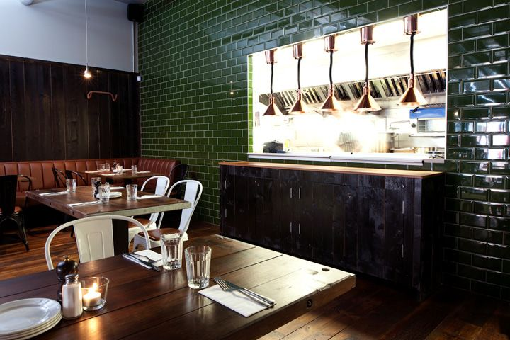 Green subway tile is FIRE Coppi Restaurant by Terry Design Belfast