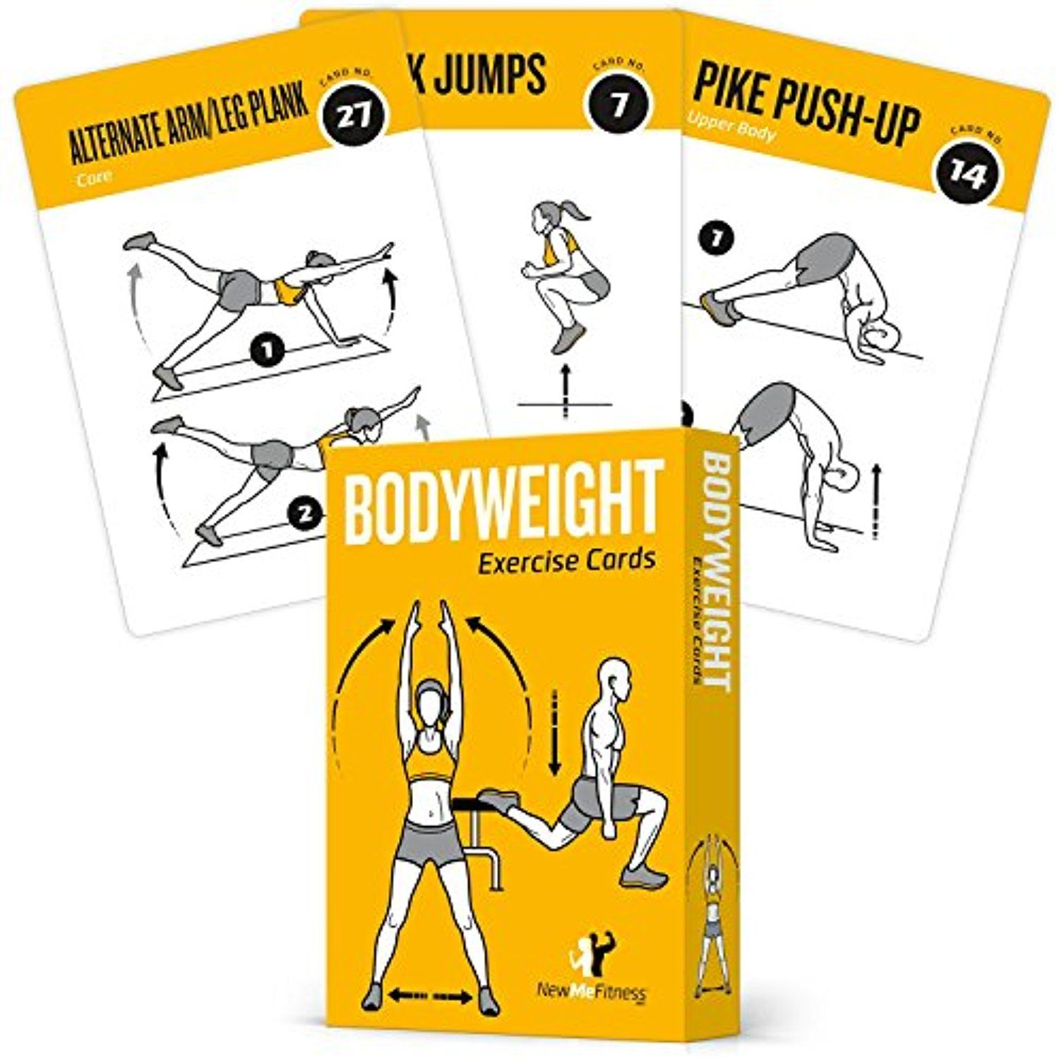 EXERCISE CARDS BODYWEIGHT Home Gym Workout Personal Trainer Fitness Program  Guide Tones Core Ab Legs Glutes Chest Bicepts Total Upper Body Workouts ...