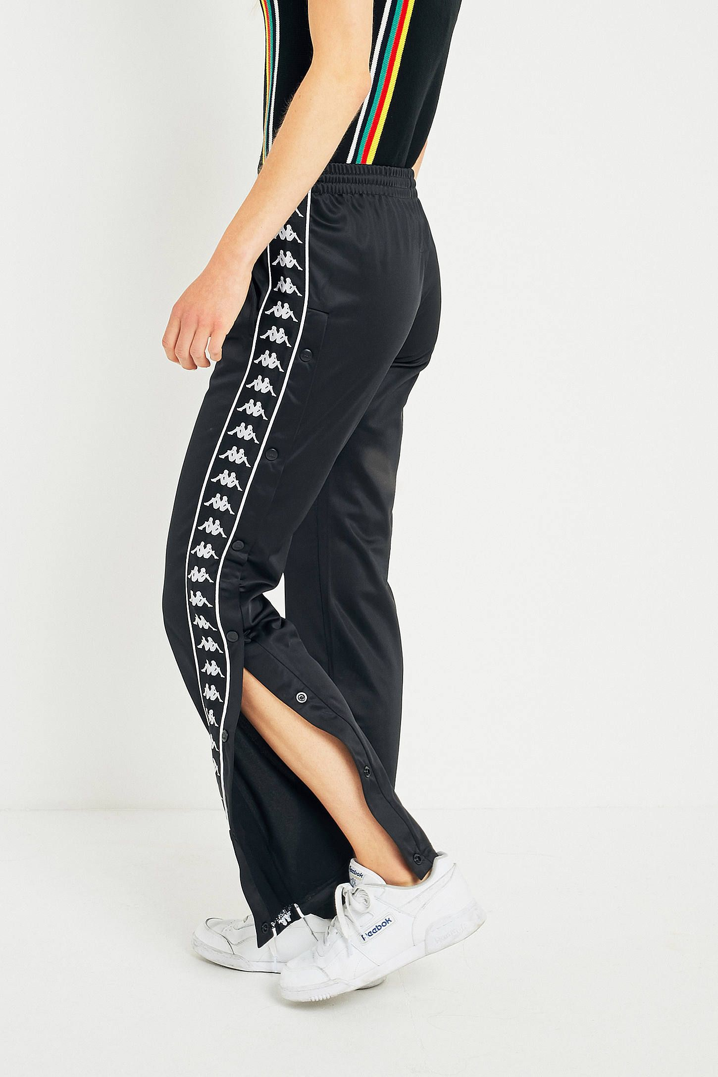 7e8fb0bc67 Kappa Black Taping Popper Track Pants | outfits | Pants outfit ...