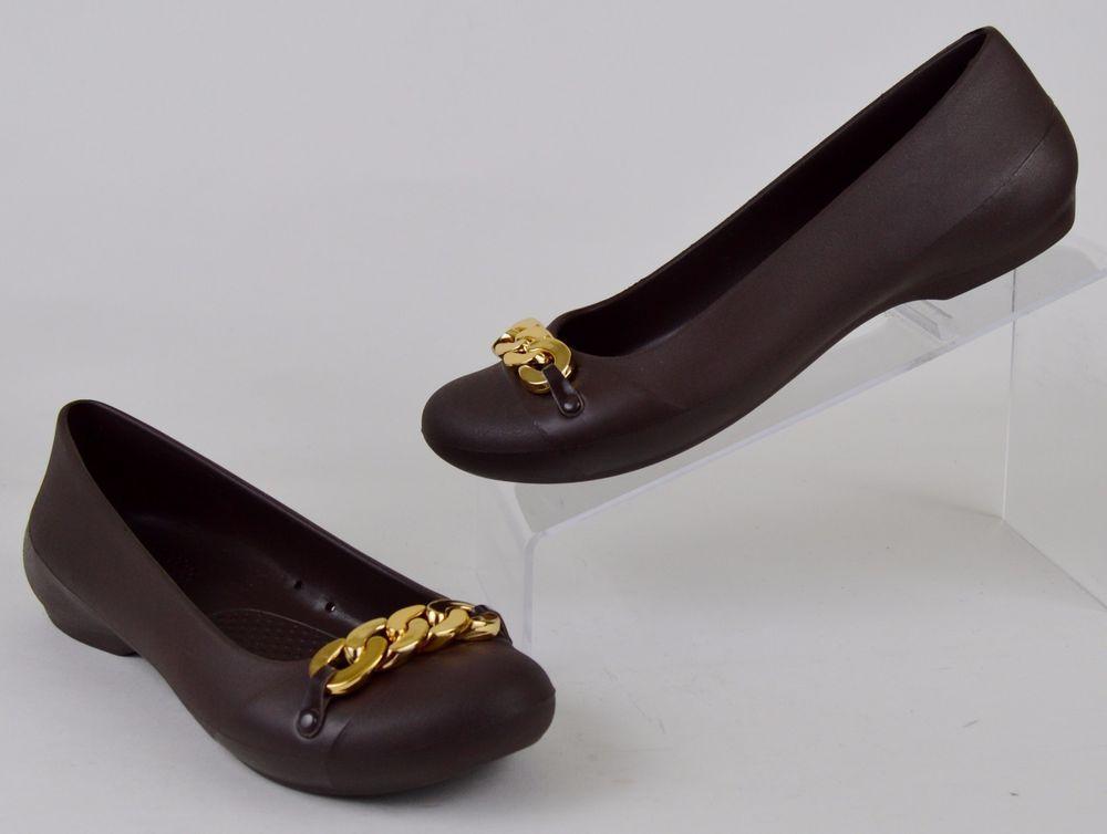 87cf1ecf60b17 Crocs Gianna Women's Size 7 Brown Croslite Gold Chain Flats Like NU ...