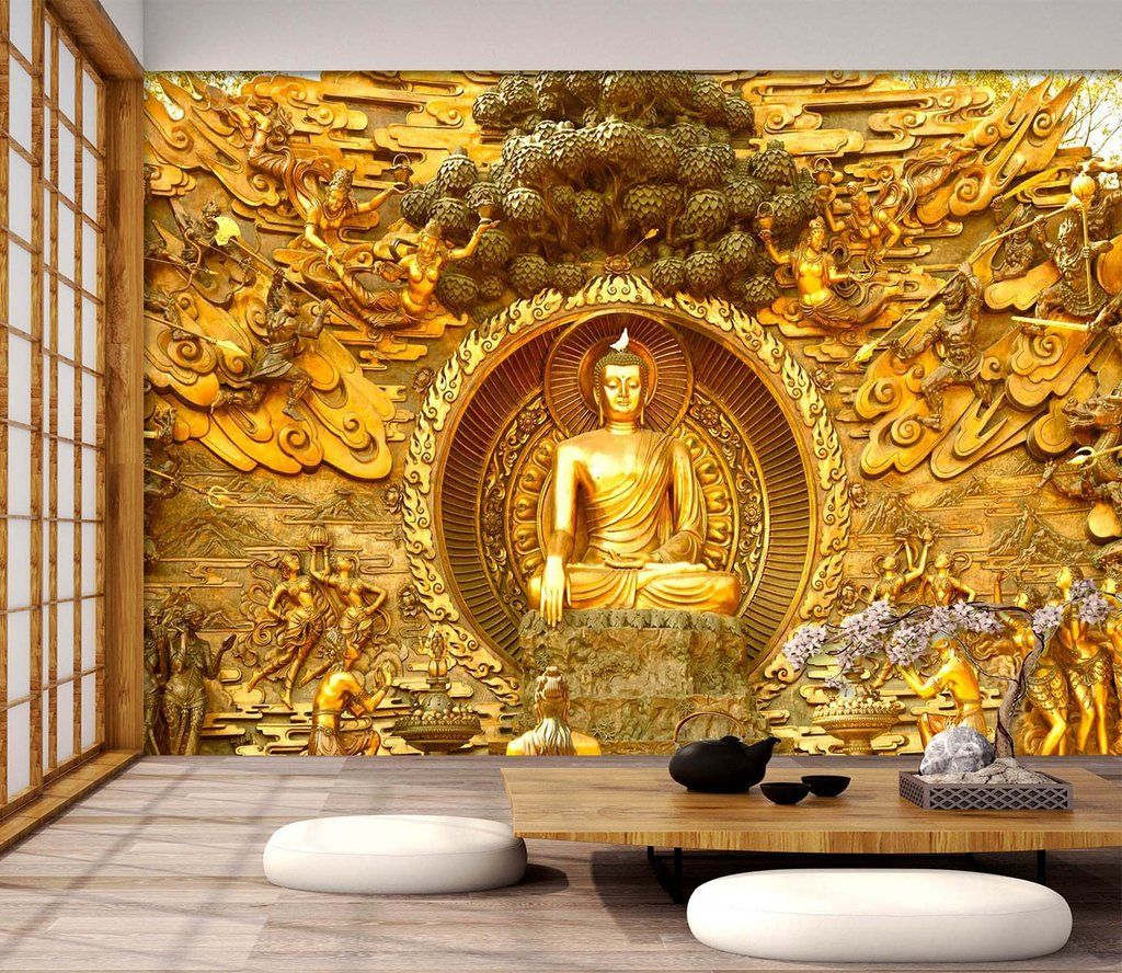 3D Gold Buddha Statue 594 Traditional wallpaper, Wall