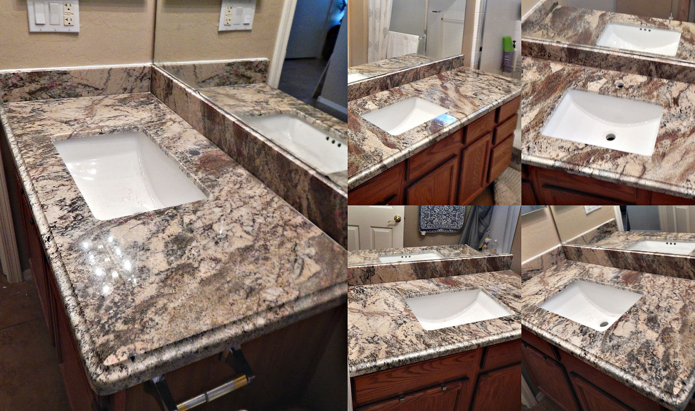 Bathroom Countertop Remodel with Smokey Mountain Granite Ogee