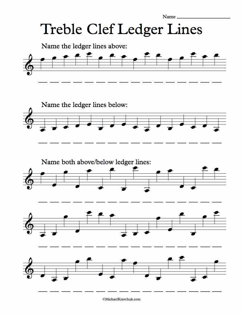 Free Treble Clef Ledger Lines Note Recognition Worksheet Music