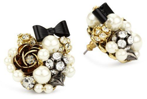 Betsey Johnson B03606 E01 Simulated Pearl And Black Bow On Stud Earrings Ebay