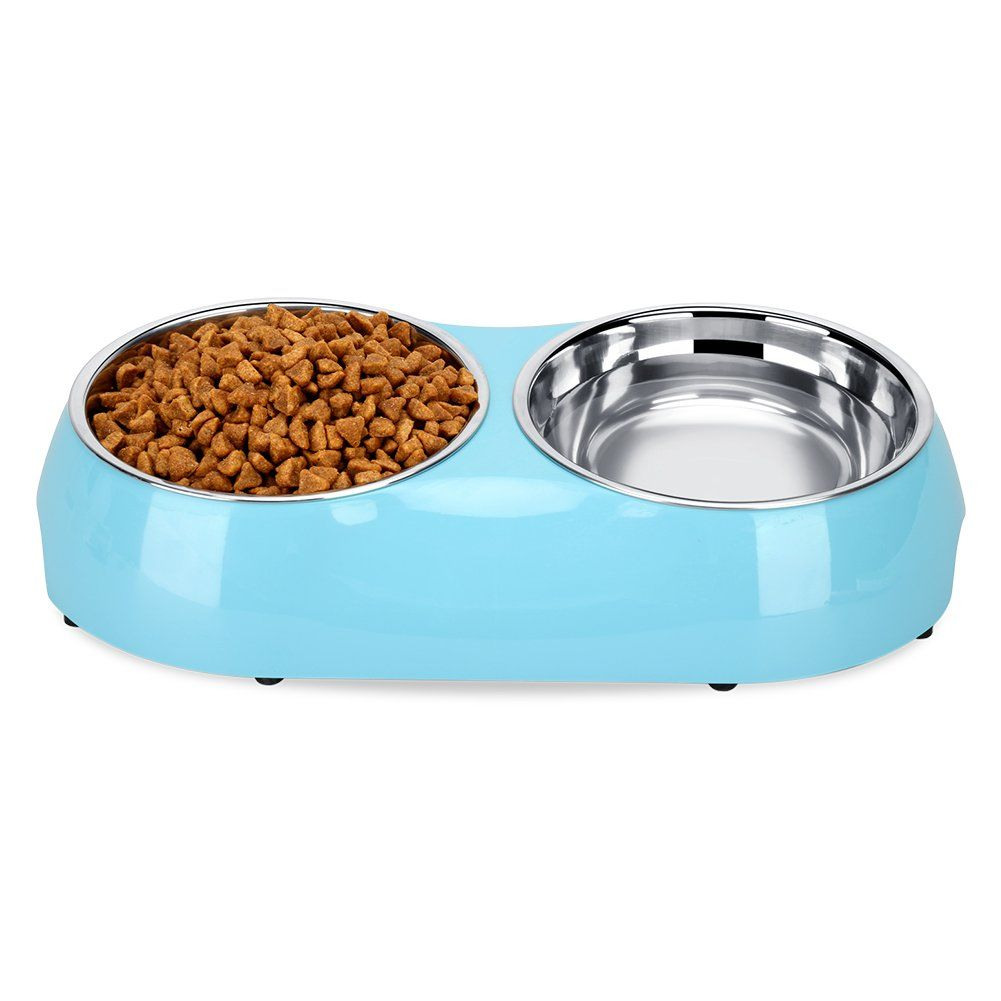 Luase Pet Dog Bowl Food Water Dish Feeder Stainless Steel Feeder Pet Dog Double Bowls Medium Blue Check Out This Great Product I Dog Bowls Bowl Dog Feeder