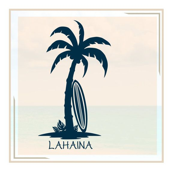 Vinyl PALM TREE/SURFBOARD Wall Decal Personalized By