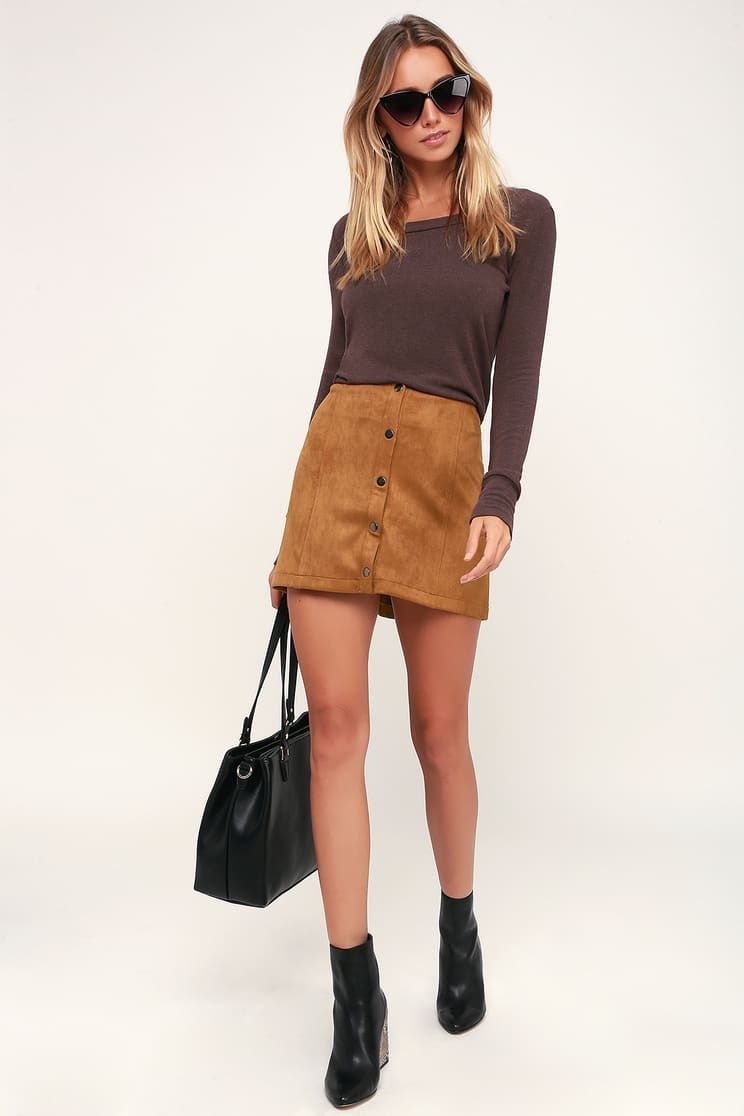 6722bed7c Can't Buy Me Love Camel Suede Snap-Front Mini Skirt   what to wear ...
