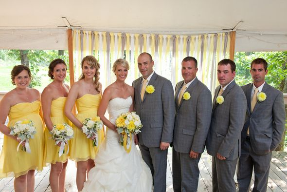 Yellow Grey White Wedding Party Wedding Inspiration Wedding