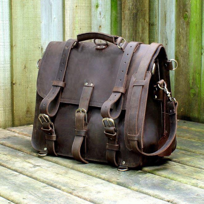 #Handmade Full Grain #Leather #Briefcase Selvaggio Vintage
