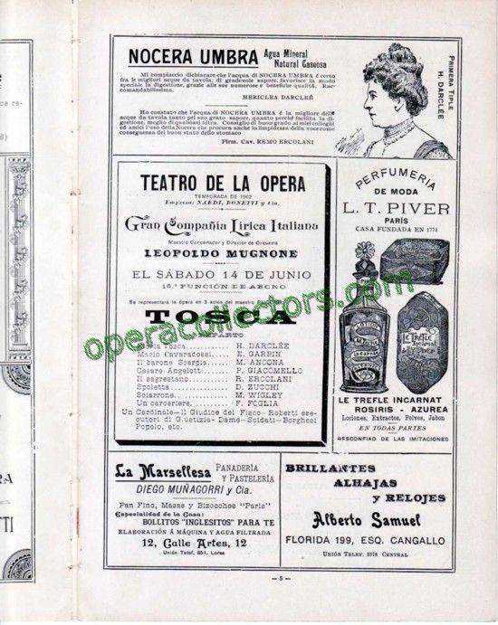 TOSCA - Teatro de la Opera 1902 program - Hariclea Darclee!