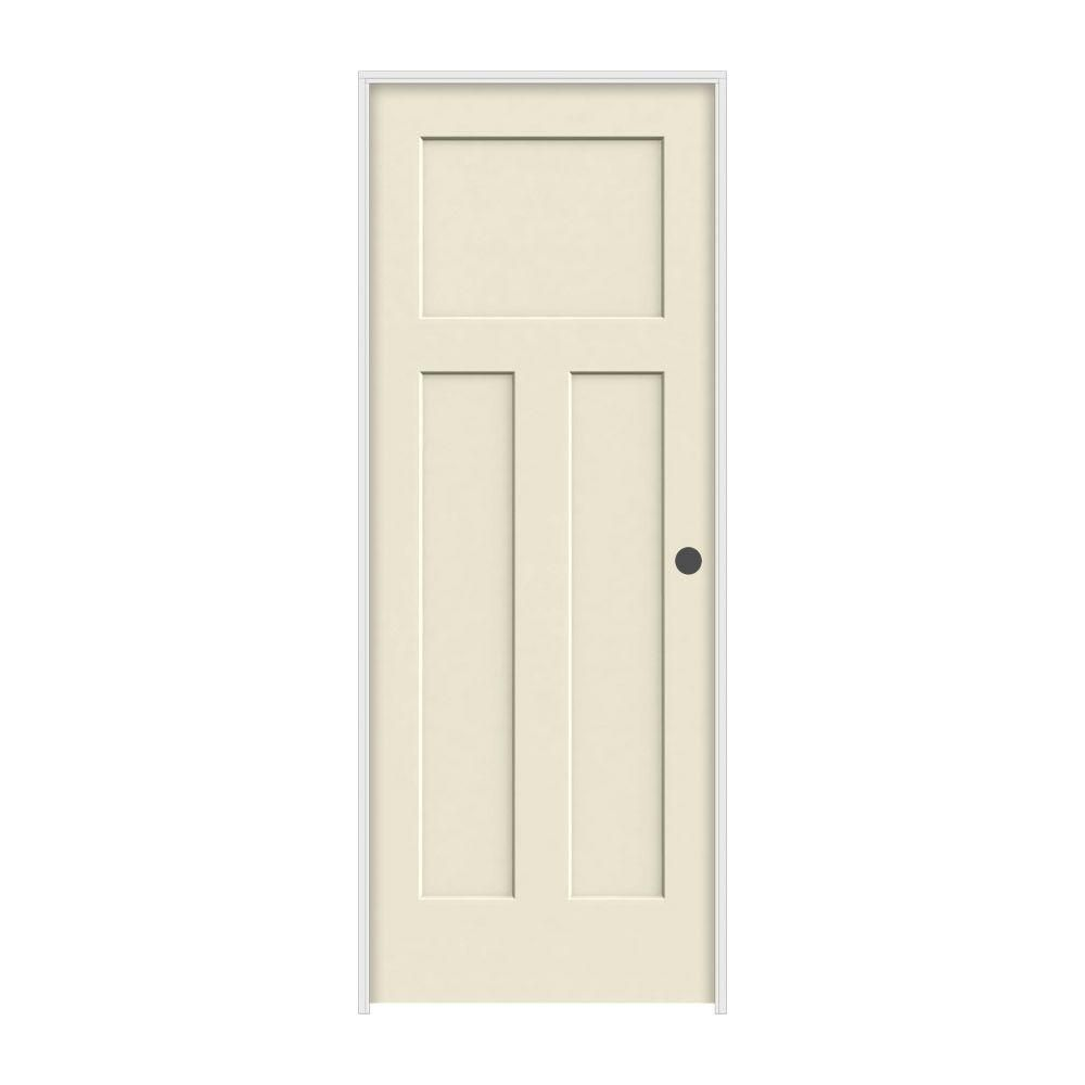 Molded Smooth 3-Panel Craftsman Primed White Solid Core Composite Single  Prehung Interior Door