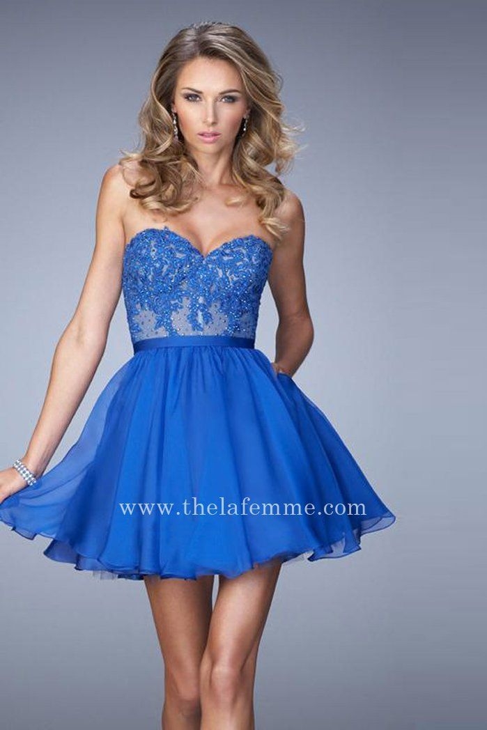 Electric Blue Strapless La Femme 22049 Short Sexy Homecoming Dresses