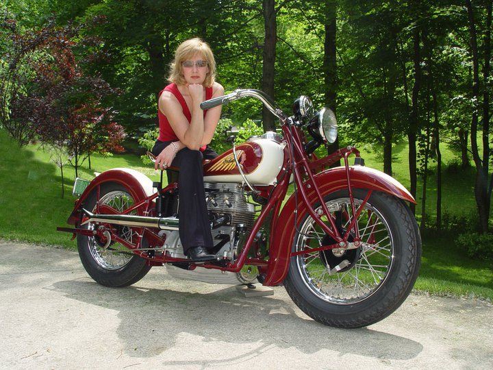 Girl On An Old Motorcycle Post Your Pics Indian Motorcycle