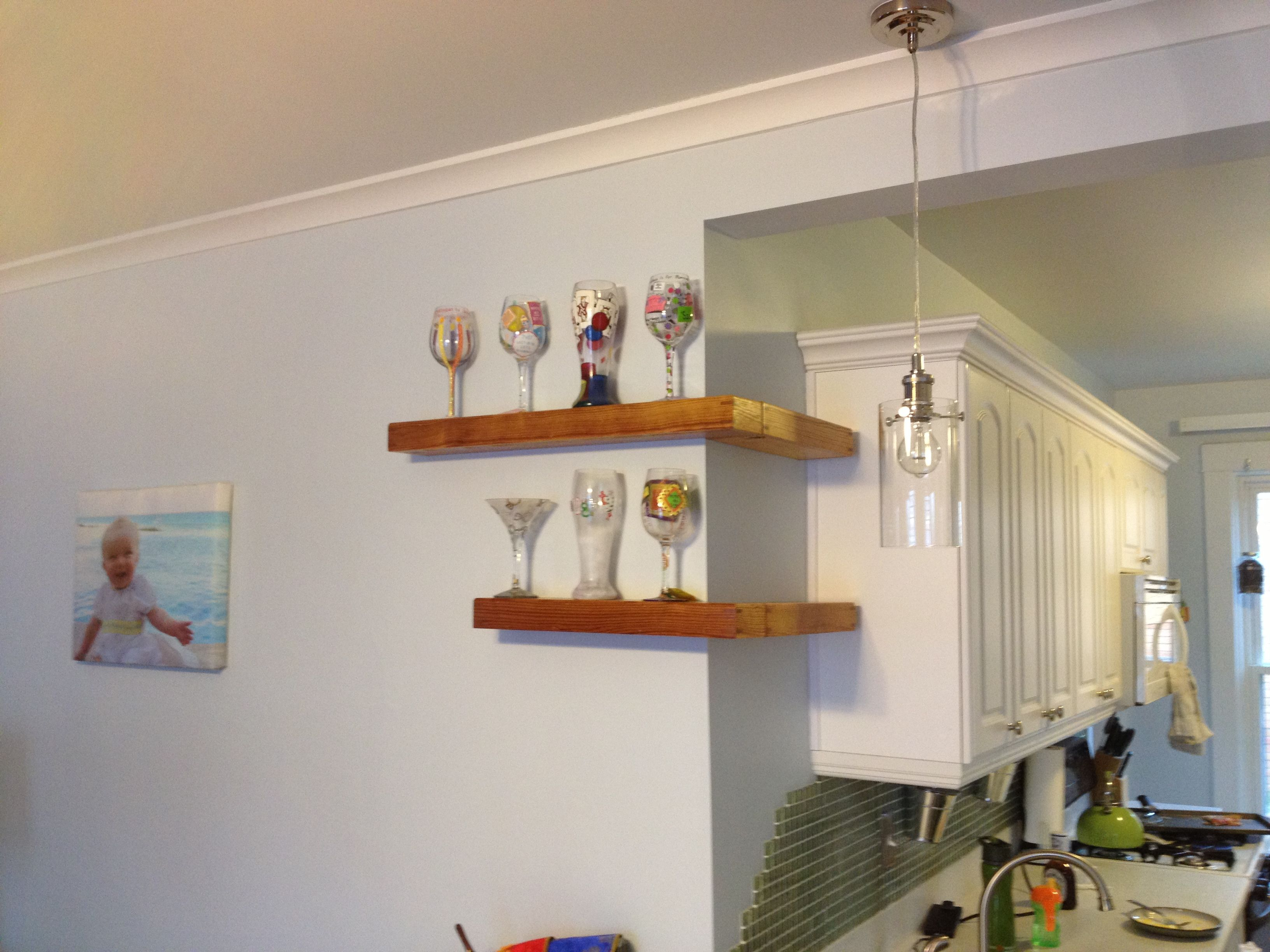 Exceptionnel Decoration Ideas, Interesting Old Pine Wood DIY Two Tier Floating Corner  Shelves With White Shaker Shaped Cabinet Kitchen Base And Lime Green  Backsplash: ...