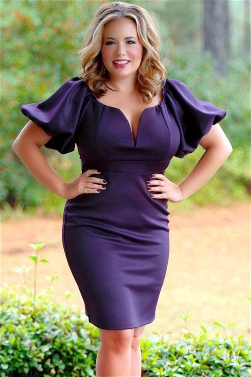 Purple Puff Sleeve Plus Size Bodycon Dress | FADDI PLUS ...