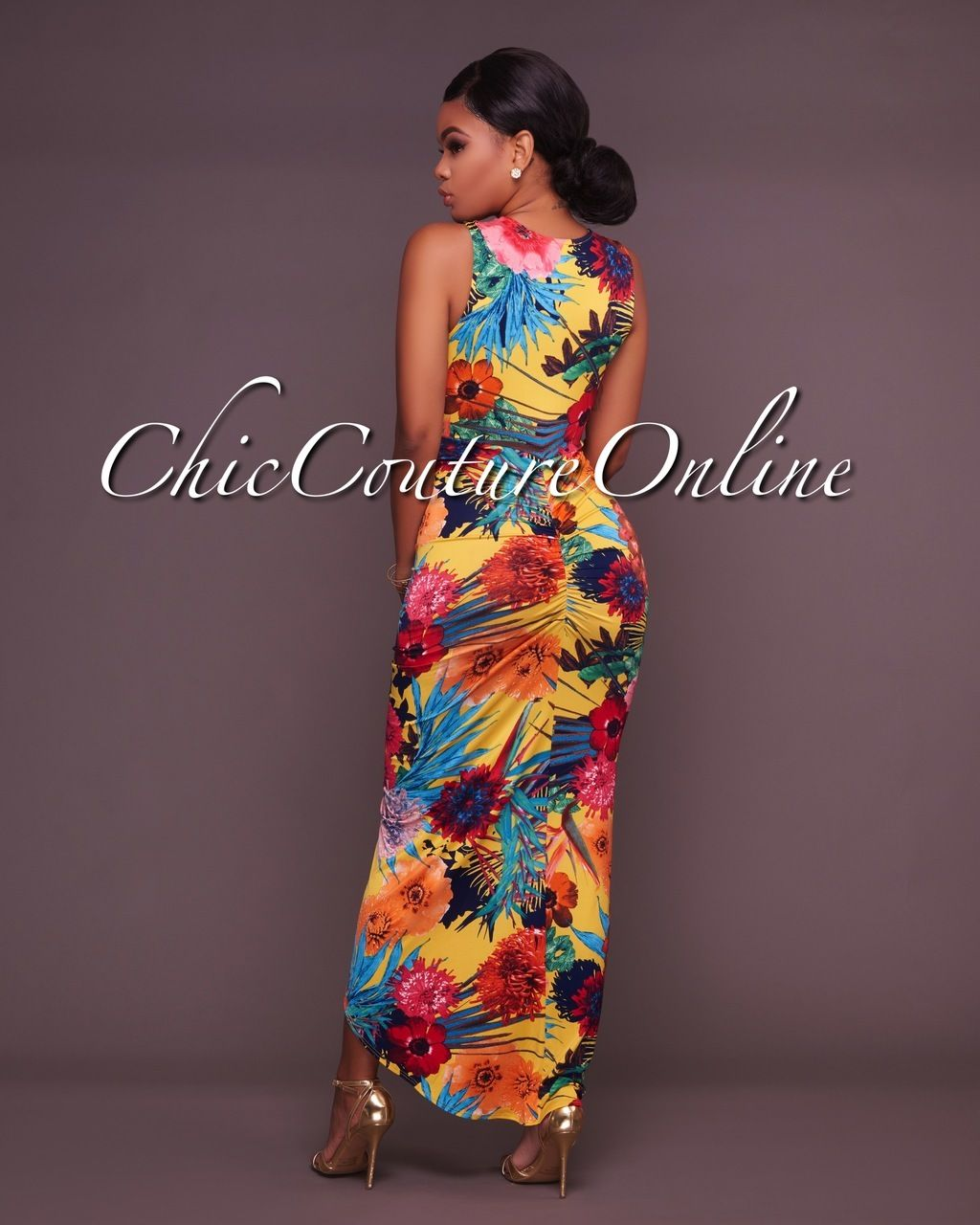 5fc8ee5d982 Chic Couture Online - Lisseta Yellow Multi-Color Draped Front Maxi Dress